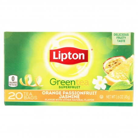 Lipton Green Tea Bags Orange, Passionfruit And Jasmine 20s 1.6oz