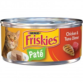 Purina Friskies Classic Pate Chicken And Tuna Dinner Cat Food 5.5 oz