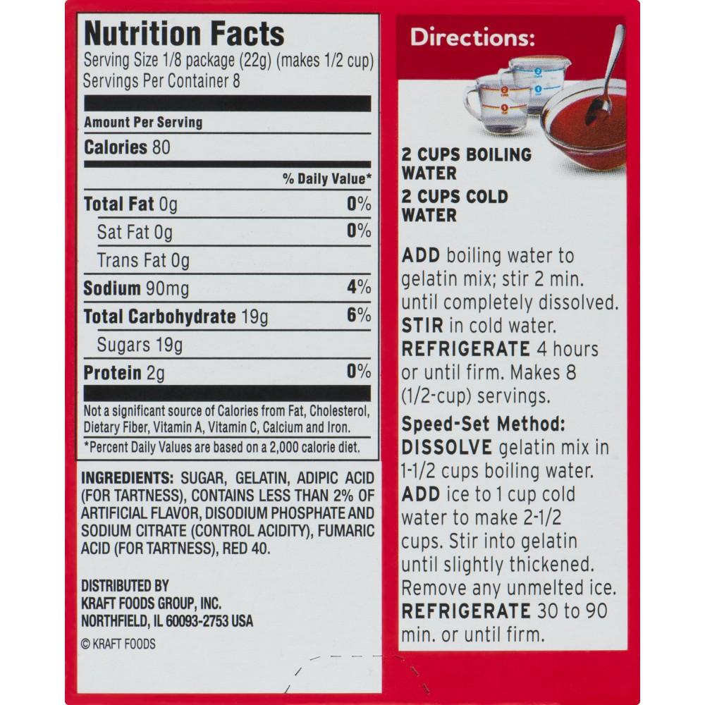 orange jello nutrition facts