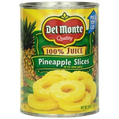 Del Monte - Fruit - Pineapple Slices 100% Juice 20oz