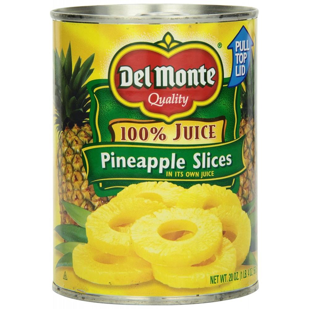 Del Monte - Fruit - Pineapple Slices 100% Juice 20oz